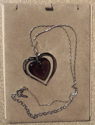 Stunning Lalique Ruby Heart & Silver Heart Pendant With Silver Chain Mib Signed