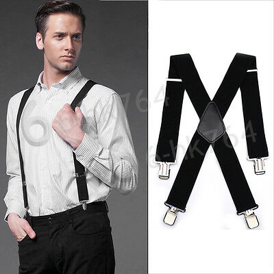 50mm Unisex Mens Men Braces Plain Black Wide & Heavy Duty Suspenders Adjustable