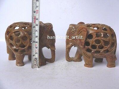"""3""""Hand Carved Soap Stone Elephant Figurine With Baby Inside Made In India Gifts"""