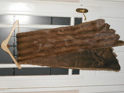 """genuine vintage light brown mink stole with silk lined 76"""" long"""