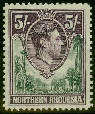 Northern Rhodesia 1938 5s Grey & Dull Violet SG43 Fine Very Lightly Mtd Mint