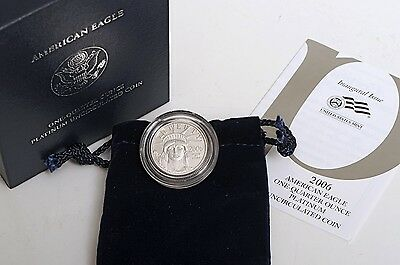 2006-W $25 1/4oz American Eagle Platinum Burnished/Uncirculated w/OGP+COA (T6C)