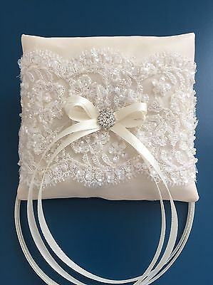 Champagne Ivory Wedding Ring Pillow Cushion Bearer Luxury Beaded Lace Diamanté