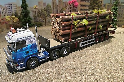 1.50 scale handcrafted model truck load of large log trees in stanchions,,