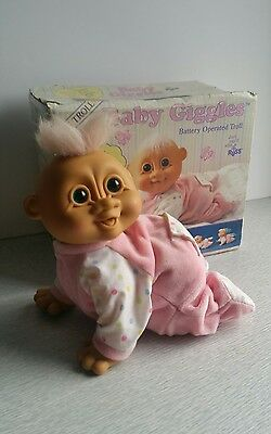 Vintage Russ Troll Crawling Baby Giggles Rare with box FAULTY NEEDS REPAIR
