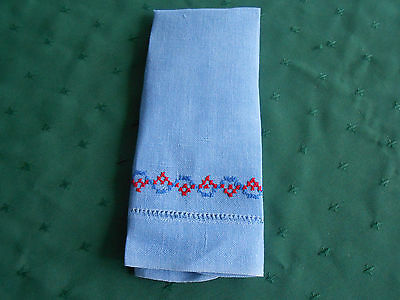 Blue Linen Towel With Red And Blue Hand Embroidery, Vintage 1930