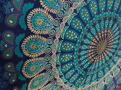 Indian Wall Hanging Hippie Mandala Tapestry Feather Peacock Print And Handmade