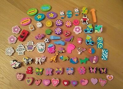 Job Lot Of 70 Used And New Rubbers / Erasers * Collection