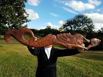 """38"""" x 6.5"""" HANDCARVED TEAK WOOD """"MERMAID"""" WALL DECOR POINTING TO THE RIGHT"""
