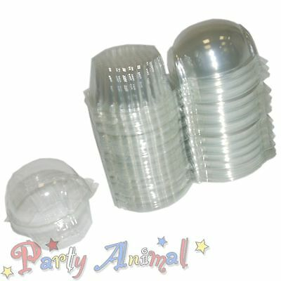 50 Clear CUPCAKE PODS - Muffin Cake Decorating Holder Dome Case Box Display 85mm