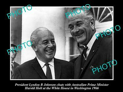 Old Large Historical Photo Of Prime Minister Harold Holt & Lbj, White House 1966