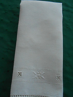 Off White Linen Towel With Hand Embroidery, Vintage 1920
