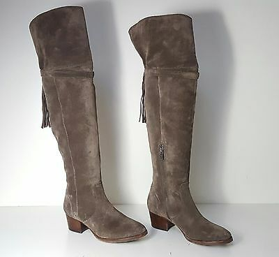 899f7b8571d  548 size 5.5 Frye Clara Tassel Gray Oiled Suede Over Knee Boots Womens  Shoes