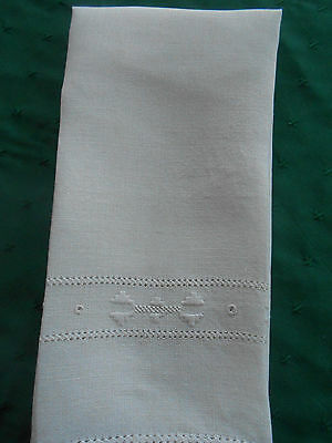 Lovely Off White Linen Towel With Hand Embroidery, Vintage 1920