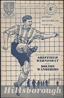 Sheffield Wed V Bolton  Programe Programme 29 0Ct 1960