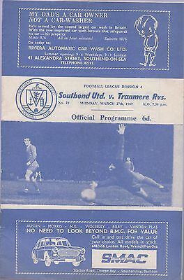 Southend Und V Tranmere Rovers Football Programme Gc 27.3.1967