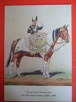 Military Postcard-Last Drum Horse Of The 13Th/18Th Royal Hussars Qmo 1938