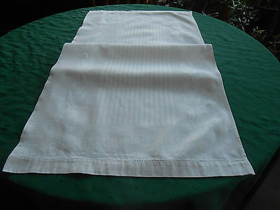 Snow White Large Damask Towel 0R Runner With A Delightful Pattern, Vintage1920