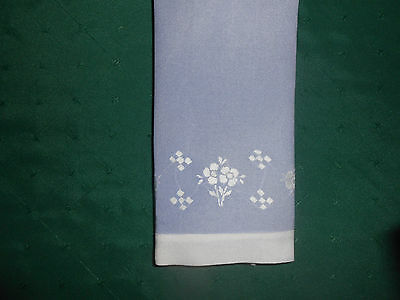 Fantastic Blue And White Vintage Towel With White Hand Embroidery,  Circa 1920