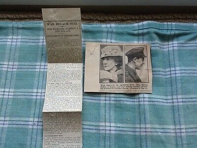 7 X EPHEMERA a Family collection newspaper cuttings assorted papers 1917 1918