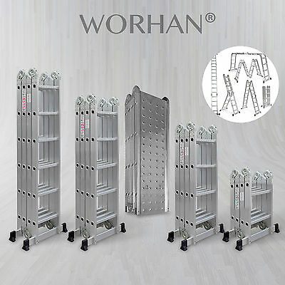 WORHAN® Foldable Ladder Multi Purpose BIG HINGE Extendable Aluminum Ladders