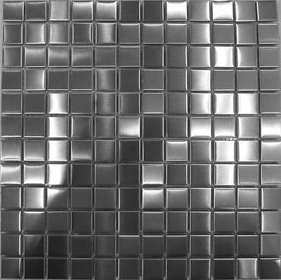 Brushed Stainless Steel Metal Mosaic Wall Tiles Bathroom Kitchen Sheet MT0036