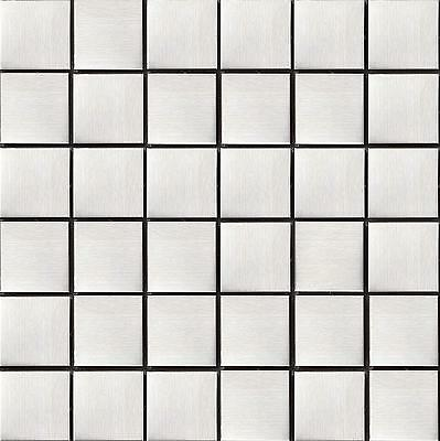 Brushed Stainless Steel Metal Mosaic Wall Tiles Kitchen Bathroom Sheet MT0035