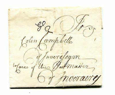1735. The Very Rare Manuscript Glasgow ( Gl2 ) Town Charge Mark. To Inverary.