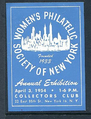 Vintage Poster Stamp Label- Usa: Womens Philatelic Society Of Ny Exhibition 1954
