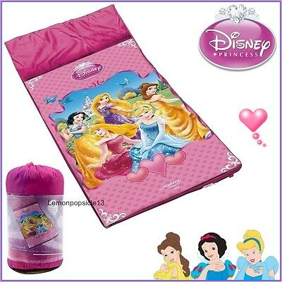 Disney Princess Sleeping Bag Kids Camping Sleepover Zip Girls Pink Cinderella