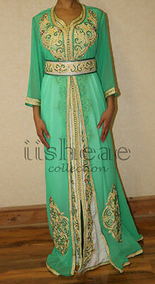 Maxi Dress Party/Wedding Green & White - iisheae collection  - Exquisite Kaftans