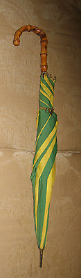 Vintage Umbrella 1950s Faux bamboo handle Green/Yellow Metal tip UK Made Insonia