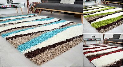 Waves Small X Large Modern 5cm Thick Shaggy Rug Design Soft Pile Carpet Mat Rugs
