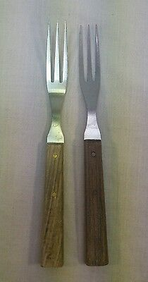 Vintage 3 Tine Granny Fork by Chadwick Stainless Steel Wood Handle JAPAN