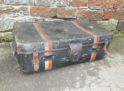 Vintage PORTMANTEAU Black STEAMER Trunk TRAVELLER Sample CASE LEATHER Prop CHEST