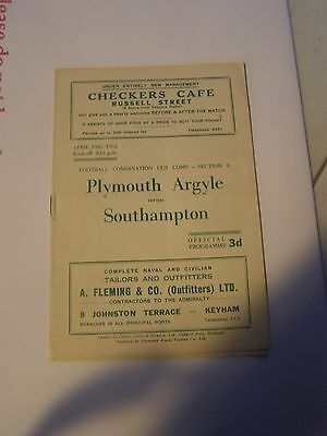 Plymouth Argyle res v Southampton reserves Combination Cup 51/2 programme