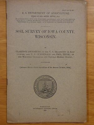 1912 Soil Survey Iowa County, Wisc. book and color map, Dodgeville Mineral Point