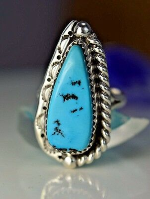 Navajo made sterling silver ladies ring with Kingman Turquoise size 7