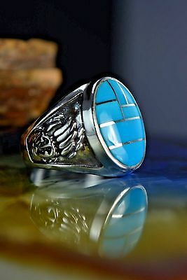 Sterling silver Navajo made Bear paw ring 7 pcs of Easter Blue Turquoise S-11