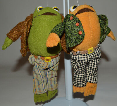 """Frog Plush Toys Stuffed Animal Lot of 2 Dressed 6.5"""" Tall Frogs  (8)"""