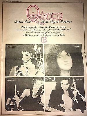VINTAGE 1973 Queen DEBUT ALBUM AD PINUP POSTER FREDDIE MERCURY BRIAN MAY RECORDS
