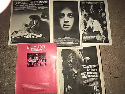 5 Lot Vintage Billy Joel Album Ad Pinup Poster Records Turnstiles Piano Man 52Nd