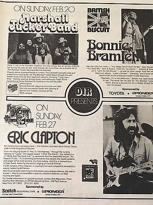 1977 King Biscuit Flower Hour Eric Clapton Marshall Tucker Band Ad Poster Pinup