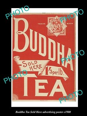 OLD HISTORIC AUSTRALIAN ADVERTISING POSTER, BUDDHA TEA SOLD HERE c1900