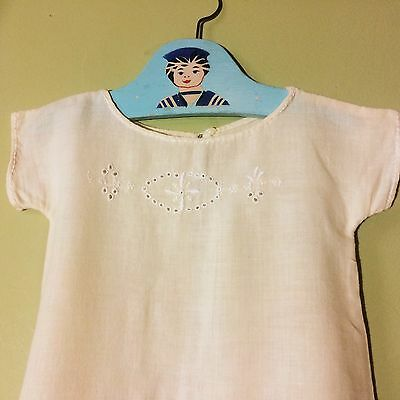 Vintage baby nightgown / Christening  1930s 1940s or 1950s. Ivory. Fine Wool