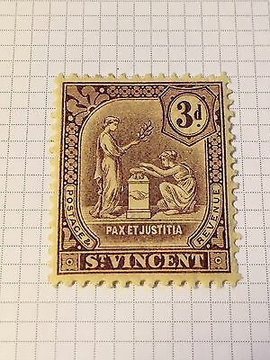 St Vincent 1909 KGV Seal of the Colony sg 106 3d purple on yellow MH