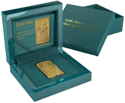 2014 Niue $2 Faith Hope Love and Sophia 1 oz .999 Gilded Silver Coin w/ Box & CO