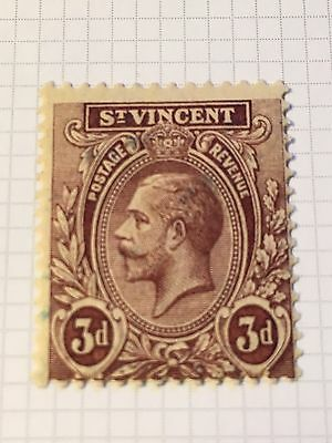 St Vincent 1909 KGV sg 135 purple on yellow MH