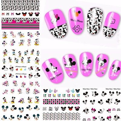 Nail Art Water Decals Stickers Transfers Mickey Minnie Mouse Bows Heart Neon