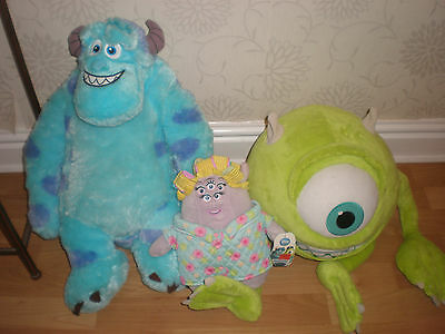 Disney Monsters Inc / University Mrs Squibbles Mike Sully Soft Toys - VGC